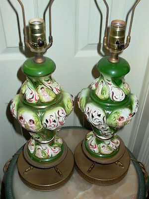 2 Capodimonte Italy Antique Porcelain Cherub Table Lamp Lamps 2