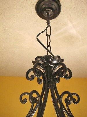 Classic light fixture CHANDELIER CAST IRON VINTAGE FRENCH PROVINCIAL 11