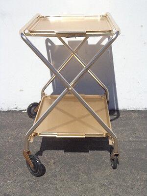 Mid Century Bar Cart Woodmet Folding Gold Copper Brass Vintage MCM Tea Serving 11