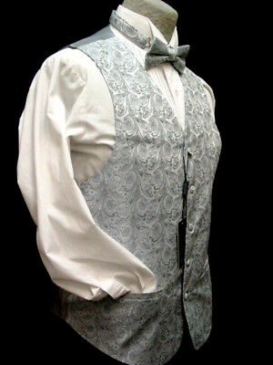 Old West Vest Victorian Style Gray paisley pattern 2 ties and hanky included