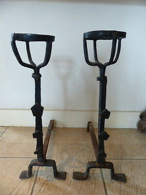 PAIR Rare 1850's Handmade Antique Wrought Iron Fireplace French Andirons Landier 2