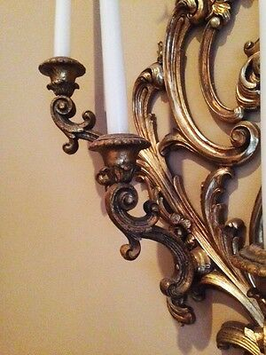 Pair of Vintage late 1940's Gold Wall Sconce Candelabras 7
