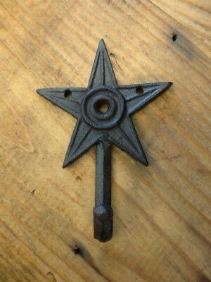 "6 SMALL 6"" BROWN STAR WALL HOOKS ANTIQUE-STYLE CAST IRON western rustic hat coat"