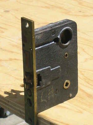"""vintage colewood cast iron mortise lock with key 4 1/2"""" x 6"""" 3"""