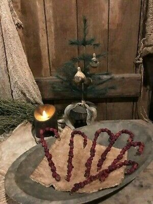 Primitive Christmas Bowl Fillers Early Look Dried Cobs Red Berries Cupboard Tuck 11