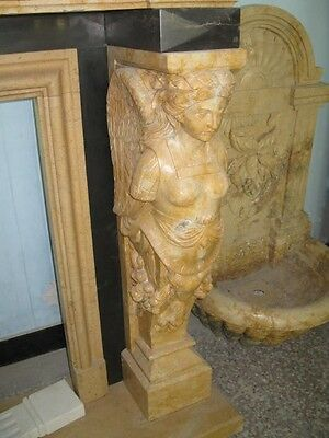 Monumental Hand Carved Figural Estate Fireplace Mantle - Hb32 8
