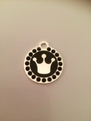 Pink Princess / Prince Crown Engraved Pet Tag / Disc with Diamantes  - Cat /Dog 5