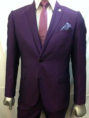 1cefab78ded ... Men s Marc Darcy Designer Purple Notch Lapel Three Piece Wedding Suit  Size 34-52 5