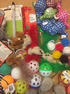 20 X  Bulk Buy Cat Kitten Toys Rod Fur Mice Bells Balls  Catnip BARGAIN JOB LOT 3