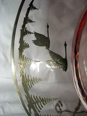 BEST Antique Deco Signed Rockwell Silver Overlay Geese Vintage Optic Glass Dish 3