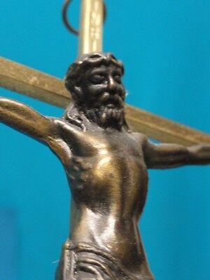 """Vintage Brass Bronze Crucifix  Wall Cross ~10"""" Cross"""