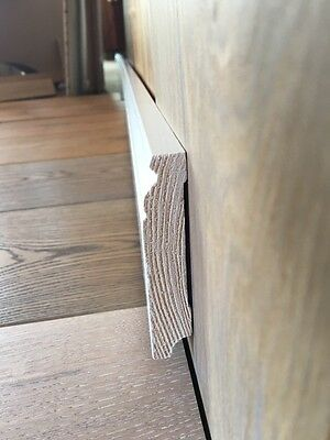 Fußleisten Massivholz 20x80mm Bremer/Hamburger Profil weiß lackiert 10 METER