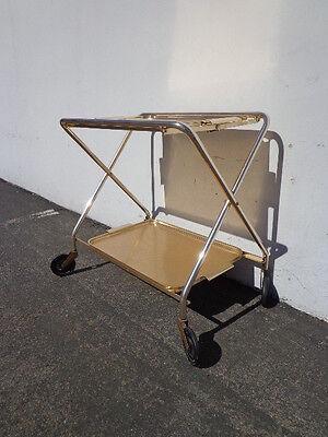 Mid Century Bar Cart Woodmet Folding Gold Copper Brass Vintage MCM Tea Serving 3