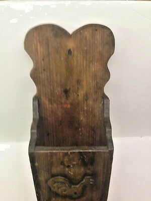 "23"" Primitive Wood Wall Hanging Folk Art Carved Candle Box or Pantry Box AAFA 7"