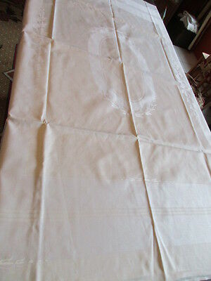 schöne alte Halbleinen Damast Tischdecke Tafeltuch pastellgelb weiss 6