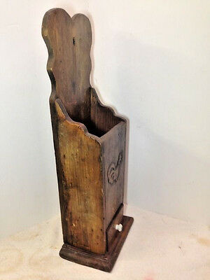 "23"" Primitive Wood Wall Hanging Folk Art Carved Candle Box or Pantry Box AAFA 9"
