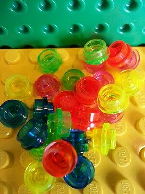 LEGO Plate Round Mixed 1x1 x50 Trans Neon Green Yellow Orange Pink Orange Stud