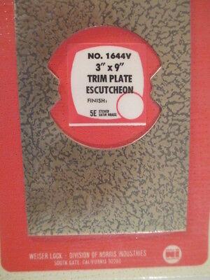 Weiser Lock Trim plate eccutcheon # 1644V   -  5E Etched Satin Brass  Lot of 10