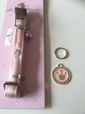 Pink Princess / Prince Crown Engraved Pet Tag / Disc with Diamantes  - Cat /Dog 2