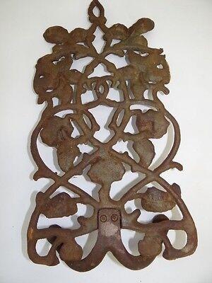 Antique Old Brown Metal Decorative Floral Architectural Towel Coat Hanger Hook 5