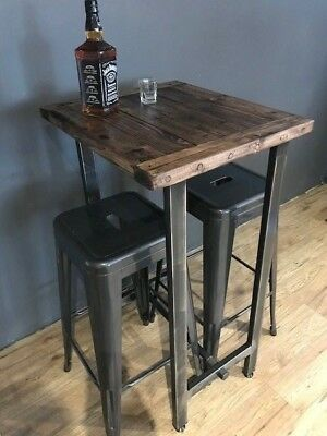 Cafe/Bistro/Bar/Poser Table and Stool Set. Industrial Steel /Reclaimed Wood 3