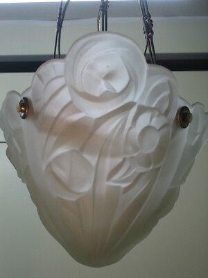 antique (PARIS STAR) ART DECO chandelier Ceiling Light Fixture FROSTED Glass 9