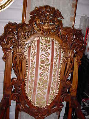 Pair Of Antique 0Ak Carved Throne Or High Back Upholstered Chairs 6