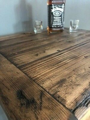 Cafe/Bistro/Bar/Poser Table and Stool Set. Industrial Steel /Reclaimed Wood 2