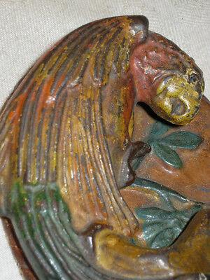 Antique # 16 Hubley Cast Iron Parrot Bird Home Door Art Doorknocker Bell Knocker 2