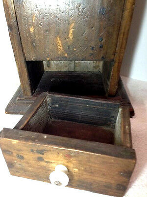 "23"" Primitive Wood Wall Hanging Folk Art Carved Candle Box or Pantry Box AAFA 8"