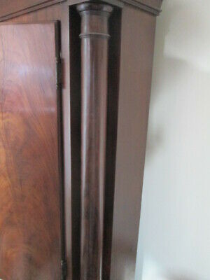 scottish long case grandfather clock flame  mahogany 8 day 7
