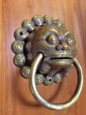 Demon Door Handle Ring Statue Sculpture Figure Bronze Vintage Patina Hardware
