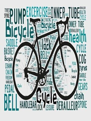 Cycling terms and words Spelled out in poster Bicycle 4 Wall art.