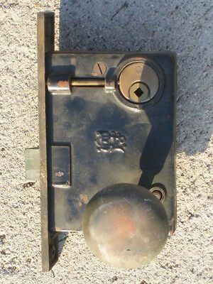 ant/vtg BL Brass Mortise Lock Exterior Deadbolt (complete set) 8