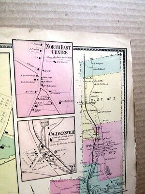 1867 Town & Villages Of Northeast Map Dutchess Co. Ny Beers Atlas 2