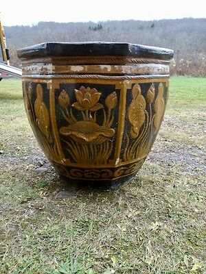Large Terracotta Glazed  Planter With Floral   Decorations 6