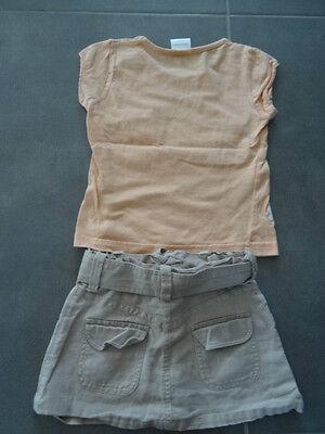 Ensemble jupe lin beige 2 ans + t-shirt saumon imprimé fleurs à paillette 3 ans 5