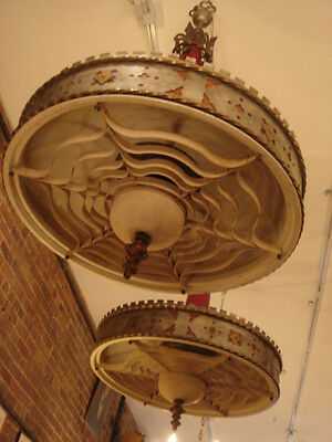 Art Deco Vintage Pair Metalwork Chandeliers 11