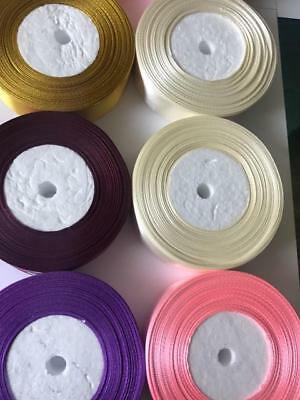 25 Metres Satin Ribbon 25mm 15mm 10mm 38mm 6mm Double Sided 8