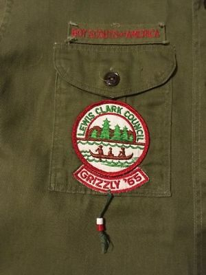 1960s Vintage Boy Scout BSA Uniform Shirt + Patches Sanforized Lewiston Idaho