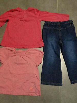 Tenue : jeans bleu poches cœur + 2 t-shirt rose 3 ans / 94 cm KIDKANAï 3