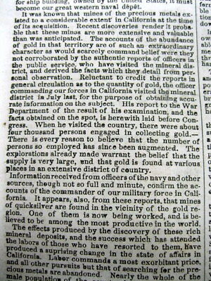 1848 newspaper Confirmation of CALIFORNIA GOLD DISCOVERY by PRESIDENT JAMES POLK 5