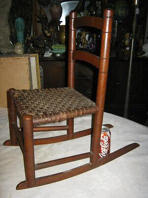 Antique Child Wood Primitive Country Farm Rocking Chair Toy Doll Splint Folk Art 8