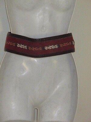DANNIJO  Red Crochet Brown leather Morocco Waist Belt Sz 32.5 Long 2