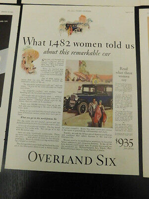 VINTAGE WILLYS OVERLAND SIX CAR ADS 1920's 1930's SET OF 6 ORIGINAL 20's  30's