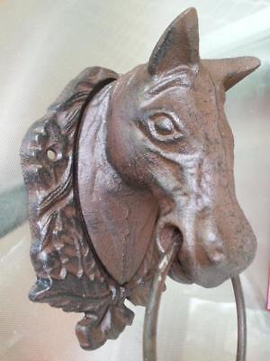 Cast Iron Antique Style Horse Head Door Knocker / Cottage Towel Ring Rustic 3