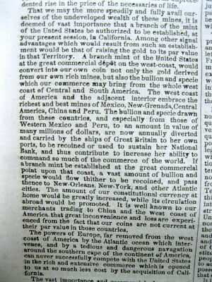 1848 newspaper Confirmation of CALIFORNIA GOLD DISCOVERY by PRESIDENT JAMES POLK 7