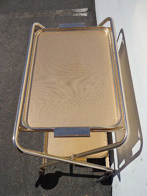 Mid Century Bar Cart Woodmet Folding Gold Copper Brass Vintage MCM Tea Serving 9