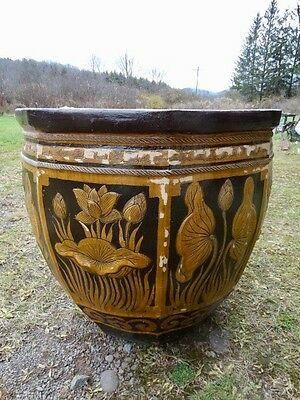 Large Terracotta Glazed  Planter With Floral   Decorations 9