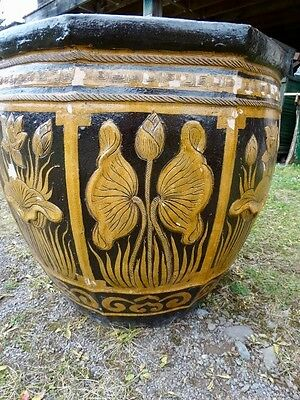 Large Terracotta Glazed  Planter With Floral   Decorations